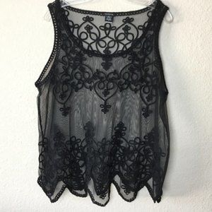 Torrid Black Sheer Lace Embroidered Tank size 0